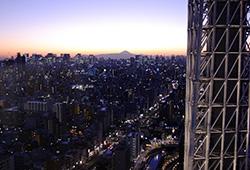 晴れた日の夕暮れ。スカイツリー越しに富士山が良く見えます