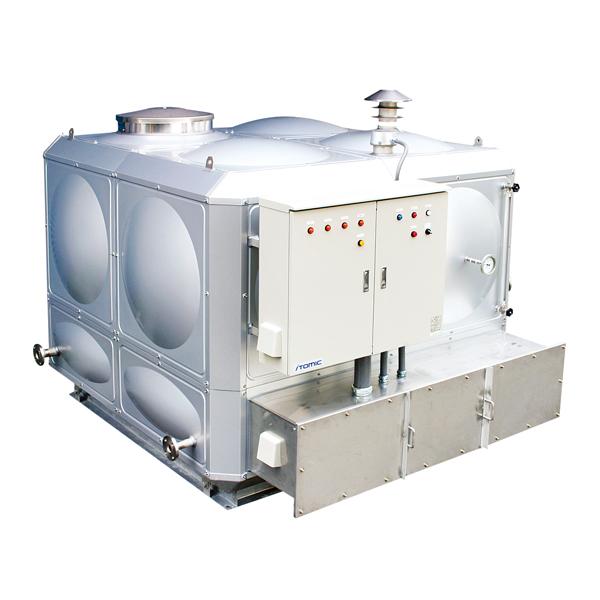 大型の貯湯タンクを持つ開放式電気温水器「EST」の屋外仕様